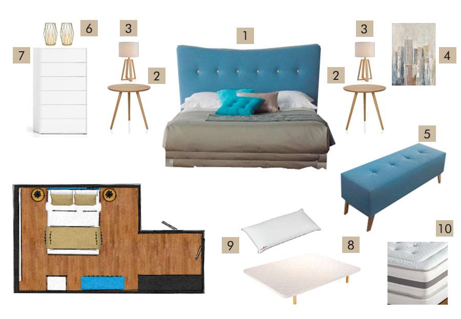 Propuesta mobiliario Pack Shop Dormitorio Nork
